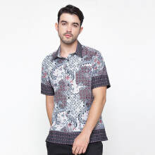 A&D MS 729b Men Batik Short Sleeve - Black Print