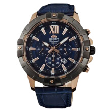 Orient Sport Chronograph Men Watch Blue Dial Blue Leather Strap [FTW03004D] Blue
