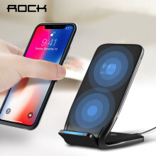 ROCK Dual Coil Qi Wireless Charger Charger 10W for iPhone 8 10 X Samsung Note 8 Phone Fast Charging Pad Docking Dock Station Black