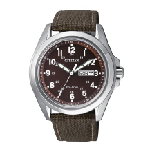 CITIZEN Eco Drive Watch - Brown Nylon Strap/Brown Dial 43mm Gents [AW0050-40W]