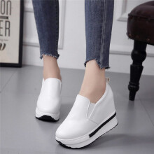 BESSKY Women's Spring Flatform Shoes Solid Wild Round Toe Casual Shoes_