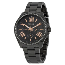 FOSSIL AM4522 D40H1578HTM CHRONOGRAPH STAINLESS STEEL CHAIN LADIES HITAM Black