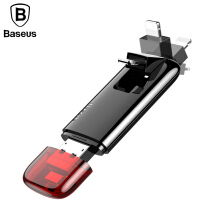 Baseus 64GB USB Flash Drive, 3 in 1 U Disk Phone Memory External Storage Stick for iPhone 5 6 7 8 X Samsung Micro USB 2.0 U Disk - Red Black