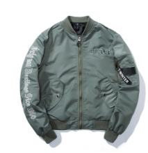 Ins V-371 Trendy brand new Simple Design Pilot baseball jacket-Light Green