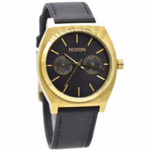 Nixon Leather Strap Unisex A9271604-2960D37HTGL Analog Hitam Gold Gold