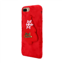 BESSKY Christmas Luxury Winter Soft Plush Warm Cute Case Cover For iPhone 7 Plus 5.5inch_ Red