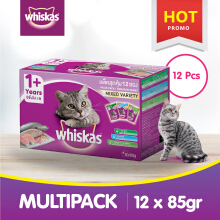 [isi 12 Pack] Whiskas Pouch 85 Gr Makanan Kucing Basah rasa Mackerel, Ocean Fish dan Mackerel & Salmon 117702