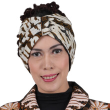 SHE BATIK Turban Batik Parang Brown-Creme