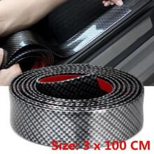 Farfi 3x100cm Carbon Fiber Rubber Car Door Bumper Strip Guard Anti Scratch Sticker as the pictures