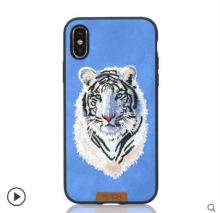 Ins V-127 3D embroidery Tiger TPU anti-fall crossover design Iphone X cover case-Blue