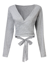 Zanzea Women Sexy Bowknot V-neck Long Sleeve Solid Color Tops Grey L