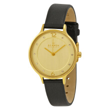Skagen Anita Gold Dial Black Leather Strap Watch [SKW2266] Black