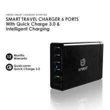 UNEED Smart Travel Charger 6 Port Qualcomm Quick Charge 3.0 - UCH07Q3 Black