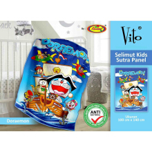 Selimut Vito Kids Sutra Panel 100x140cm Doraemon - Blue