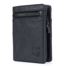Bullcaptain® Bifold Men's Leather Wallet Coin Holder Wallet Credit Card Holder -Black