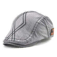 Zanzea Unisex Cotton Washed Striped Beret Hat Duckbill Golf Buckle Adjustable Visor Cabbie Cap