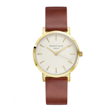 ROSEFIELD The Gramercy Gold White Dial Watch with Brown Strap [GWBRG-G34]