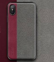 Ins V-125 fiber floss&TPU anti-fall crossover design Iphone X cover case-Red