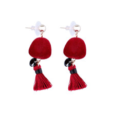 VOITTO Fashion Jewelry Vonly Pompom Tassel V19 Earrings [Red]