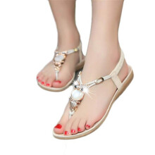 BESSKY Women Rhinestone Owl Sweet Sandals Clip Toe Sandals Beach Shoes _