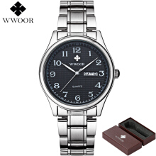 WWOOR 8805 Watches Men Fashion Business Waterproof Quartz Watch Stainless Steel Male Clock