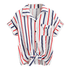 BESSKY Womens Stripe Blouse Ladies Blouses Short Sleeve Shirt Women Shirt_