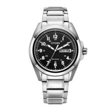 CITIZEN Eco Drive Watch - Silver Strap/Black Dial 43mm Gents [AW0050-58E]