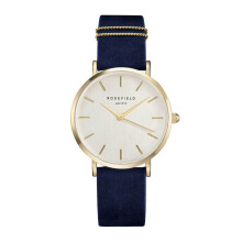 ROSEFIELD The West Village Gold White Dial Watch with Navy Blue Strap [WBUG-W70]