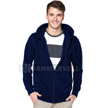 VM Jaket Polos Hoodie Zipper Korean Fleece Biru Dongker