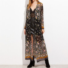 BESSKY Women Kimono Cardigan Long Floral Print Party Coat Outwear Top_