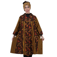 SHE BATIK Dress Batik Motif Kupu-kupu Lurik - Black Yellow