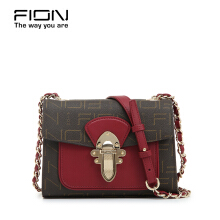 FION PU Leather & Cow Leather Sling Bag - Brown & Red