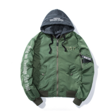 Ins V-373H Trendy brand new Simple Design Pilot baseball jacket with Hood-Navy Green