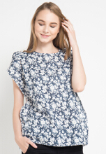 Point One GRACIE Floral Blouse - Navy