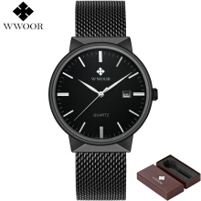 WWOOR Brand Luxury Watches Men Waterproof Stainess Steel Casual Quartz Sport Male Clock relogio masculino