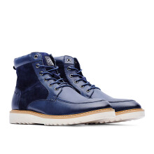 LIFE 8 Top Grain Leather Sewing Ankle Boots - Blue