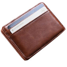 BESSKY Mini Leather Wallet Wallet ID Credit Card Holder Male Small Wallet Wallets _