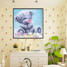 BESSKY DIY 5D Diamond Embroidery Painting Animal Cross Stitch Craft Home Wall Gift Deco_ Grey