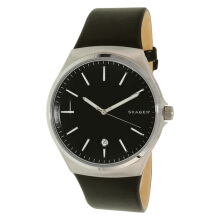 Skagen Rungsted Black Dial Black Leather Strap Watch [SKW6260]