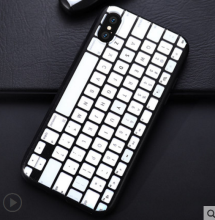 Ins V-103 Personalized creative silicone anti-fall Keyboard Iphone X cover case-White