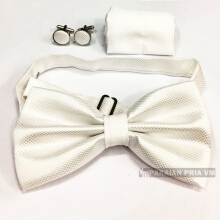 VM Dasi Kupu 1 Set manset - pocket Square 3 in 1- Putih White
