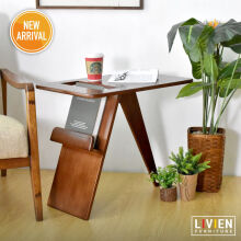 LIVIEN Furniture Meja Lipat - Meja Belajar - Side Table Mid Century - Brown
