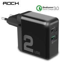 ROCK QC3.0 USB Charger Dual USB 30W Quick Smart QC 3.0 FCP Phone Charge Universal For Xiaomi iPhone Samsung Huawei EU Plug Black