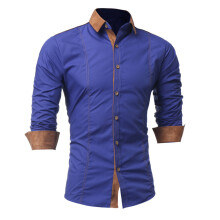 BESSKY Men Shirt Fashion Solid Color Male Casual Long Sleeve Shirt _