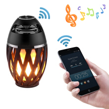 T-max IP65 Led Flame Lamp Stereo Bluetooth BT4.2 Atmosphere Soft Light Outdoor Portable Speaker LED Dancing Flicker Black