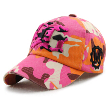 Zanzea 0051Unisex Cotton Camouflage Embroidery Baseball Cap Casual Outdoor Adjustable Golf Snapback Hat  Rose