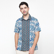 A&D Mens Batik Short Sleeve Ms 715a - Blue
