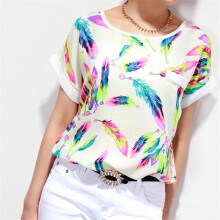 BESSKY 1PC Women Feathers Chiffon Blouse Top Casual Short Sleeve Loose T-Shirt_