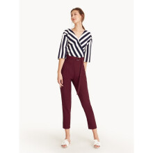 High Waist Belted Tapered Pants - Red