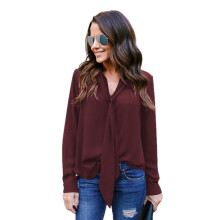 BESSKY Women's Solid Long Sleeved V-Neck Casual Tie Chiffon Shirt Top Blouse_